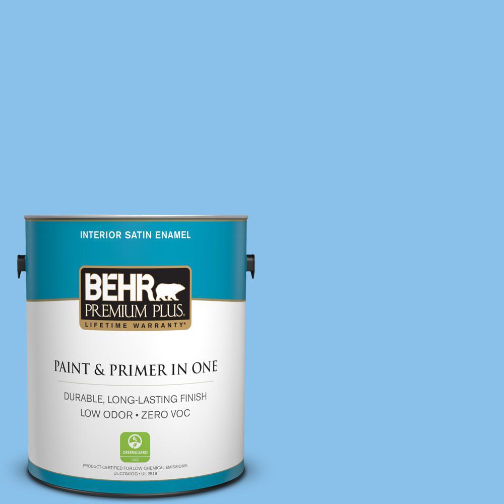 BEHR Premium Plus 1 gal. #P510-3 Rhodes Satin Enamel Zero VOC Interior Paint and Primer in One