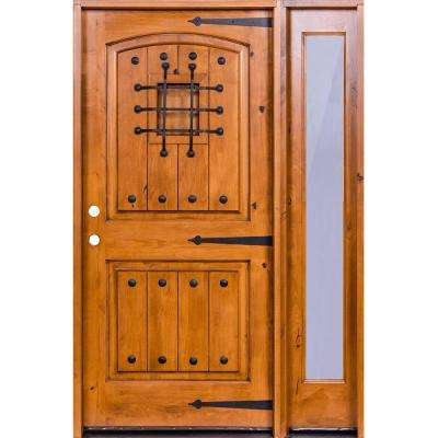 59 in. x 97.625 in. Mediterranean Knotty Alder Arch Unfinished Right-Hand Inswing Prehung Front Door Right Full Sidelite