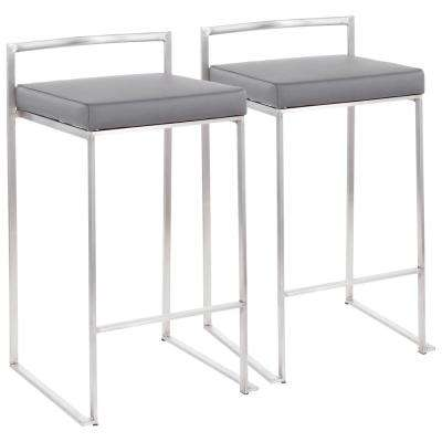 Fuji 26 in. Stainless Steel Stackable Counter Stool with Grey Faux Leather Cushion (Set of 2)
