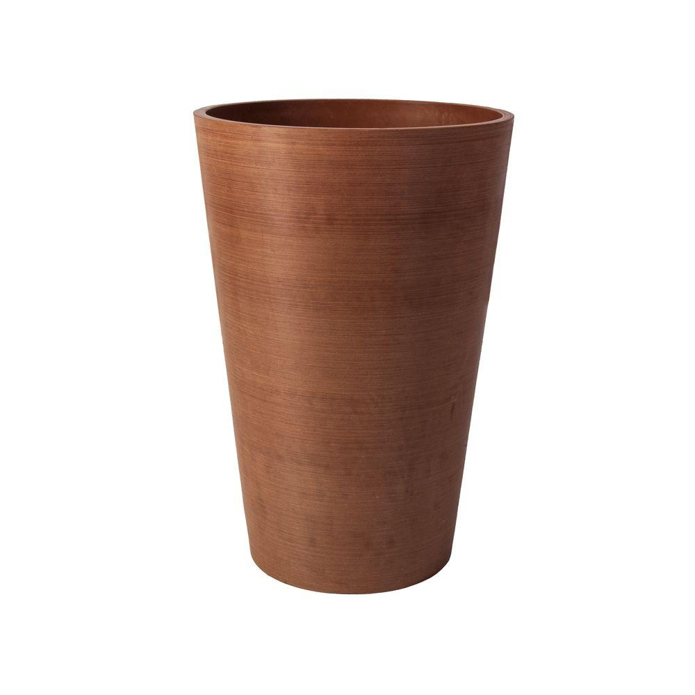 Algreen Valencia 16 in. Round Textured Terra Cotta Polystone Planter