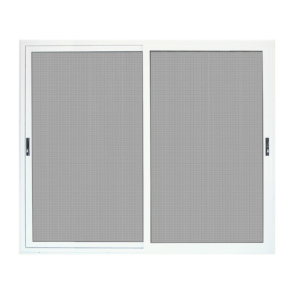 size 40 e9375 7b694 Unique Home Designs 96 in. x 80 in. White Sliding Ultimate Security Patio  Screen Door with Meshtec Screen