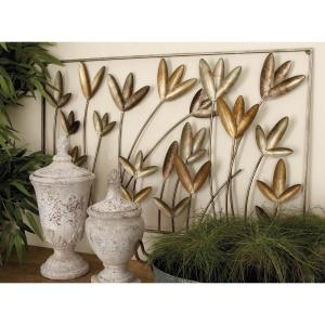 36 inch x 22 inch Contemporary Gray and Brown Iron Wire Floral Wall Decor by
