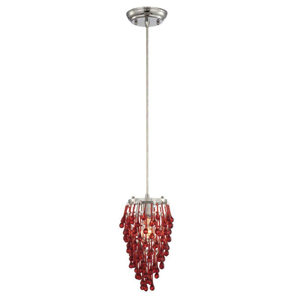Eurofase Vidal Collection 1 Light Chrome & Red Pendant  -DISCONTINUED