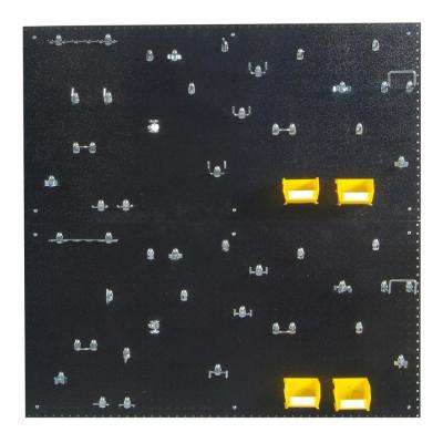 9/32 in. Hole Size (2) Black Polyethylene Pegboards Matte Front Finish with Kit (48-Piece)