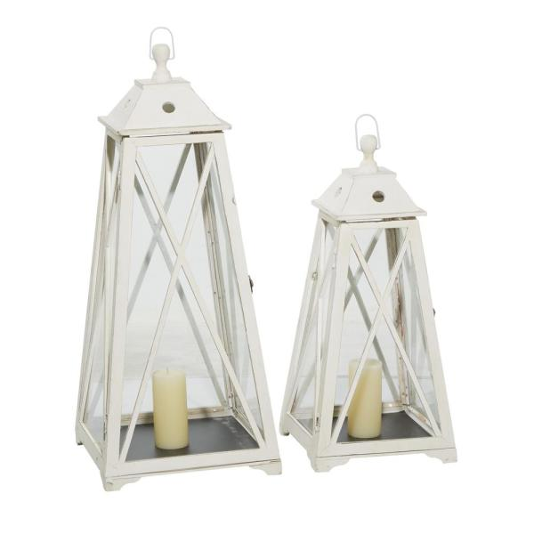 Tall Triangular Wood And Glass White Lanterns, Set Of 2: 29 in. x 36 in.