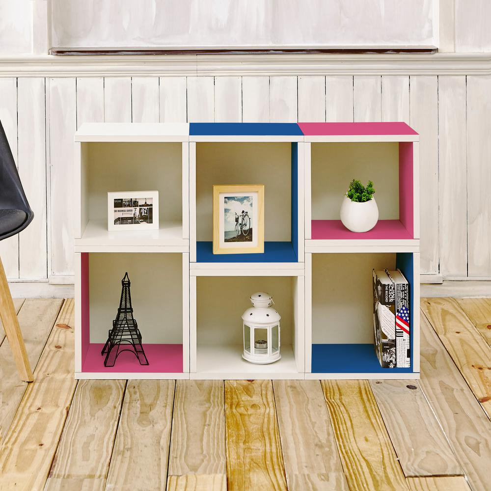 Way Basics Arlington Eco zBoard Tool Free Assembly White and Blue and Pink Stackable Modular Open Bookcase