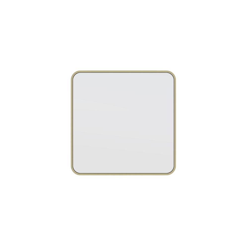 22 in. W x 22 in. H Framed Square Bathroom Vanity Mirror in Satin Brass