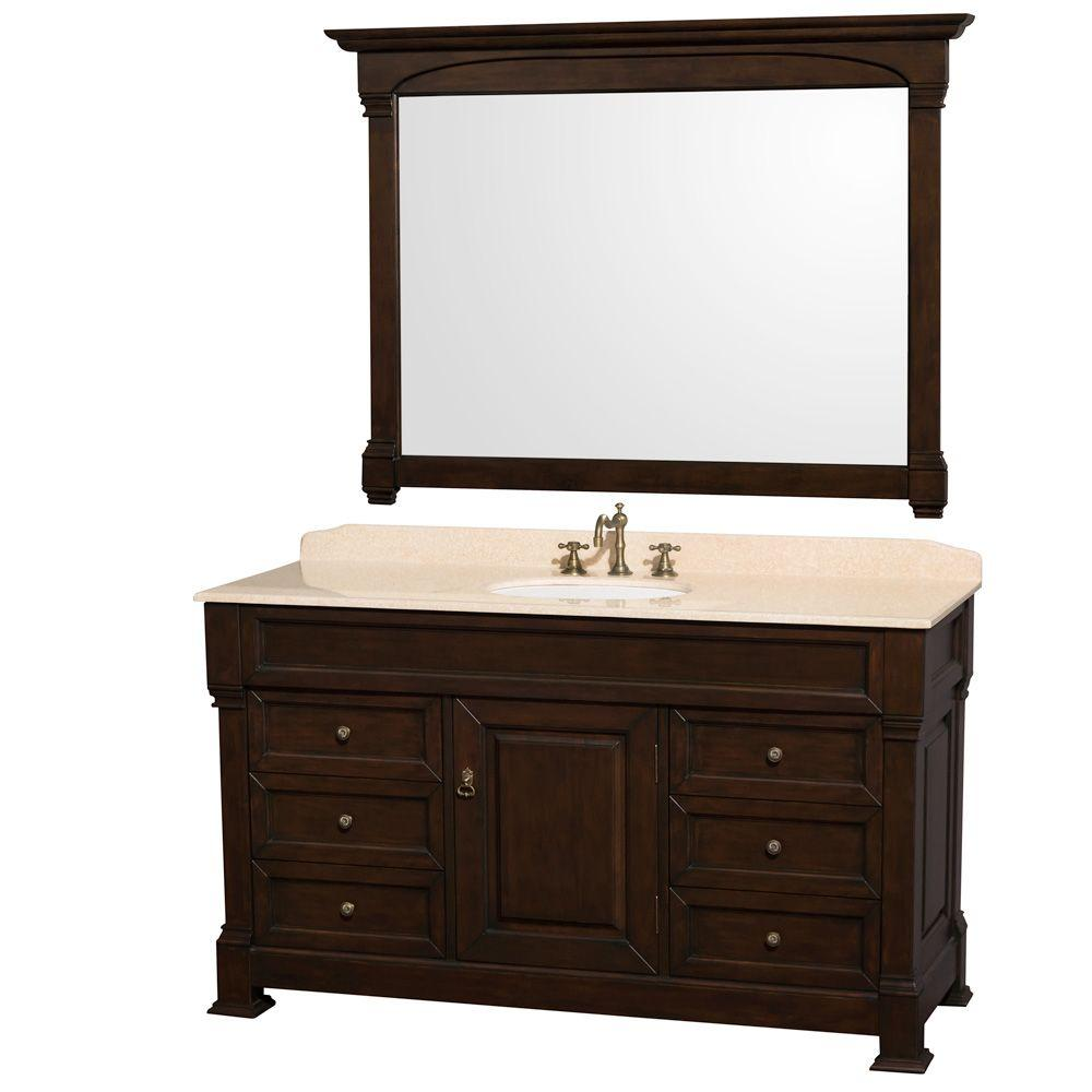 Wyndham Collection Andover 60 in. Single Vanity in Dark Cherry with Marble Vanity Top in Ivory with Porcelain Sink and Mirror