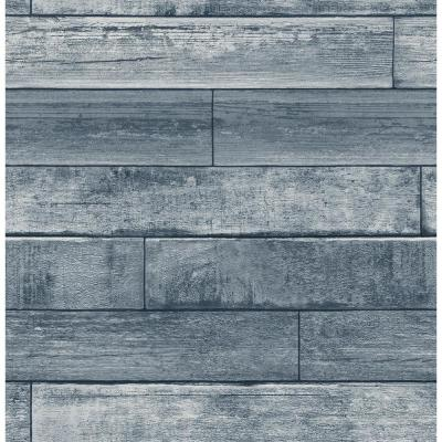 56.4 sq. ft. Wallace Blue Timber Wallpaper
