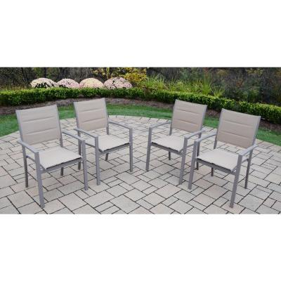 Padded Sling Aluminum Outdoor Dining Chair (4-Pack)