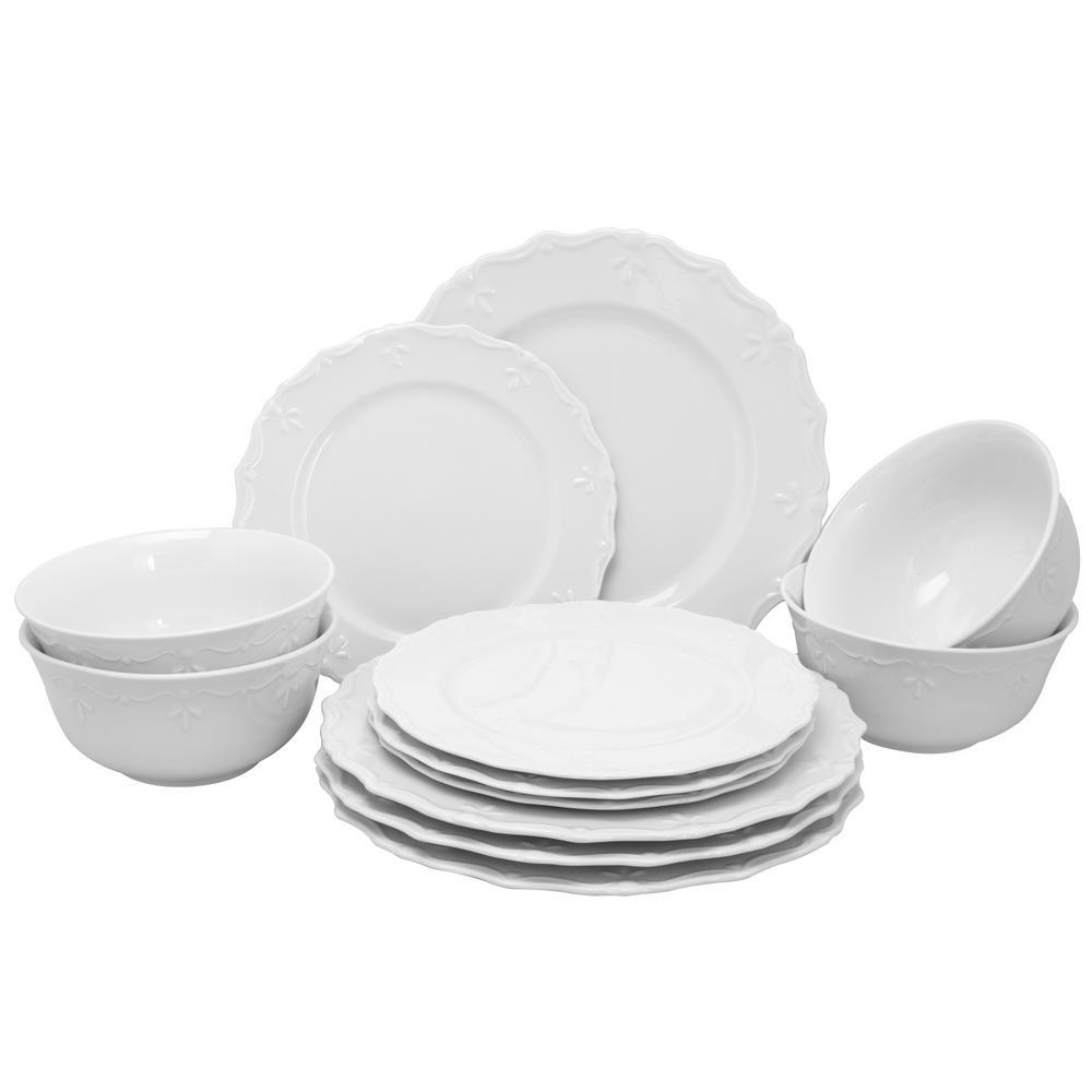 Gibson Home Scallop Buffet 12-Piece White Dinnerware Set 985100539M