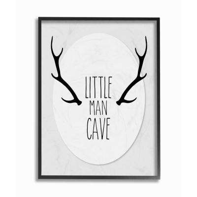 "16 in. x 20 in. ""Black and Grey Little Man Cave Antlers"" by Karen Zukowski (Finny and Zook) Printed Framed Wall Art"