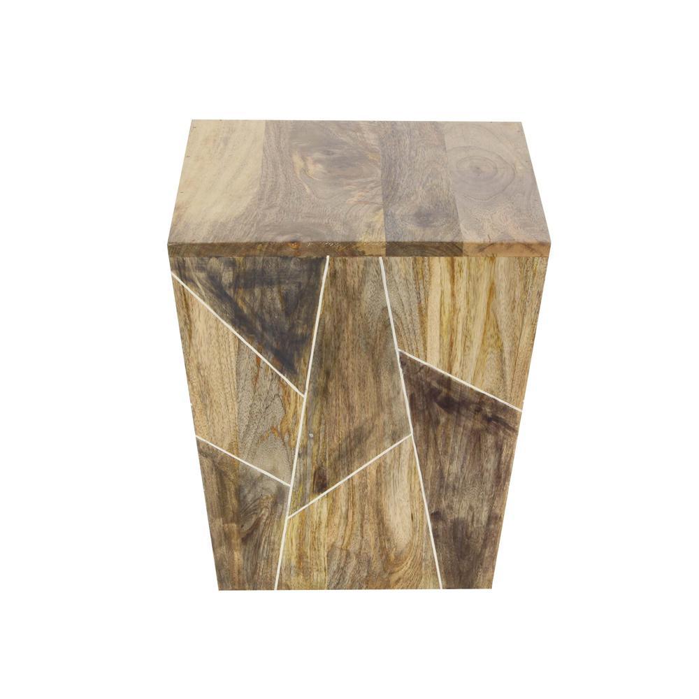 Litton Lane Traditional Wooden Trapezoidal Side Table