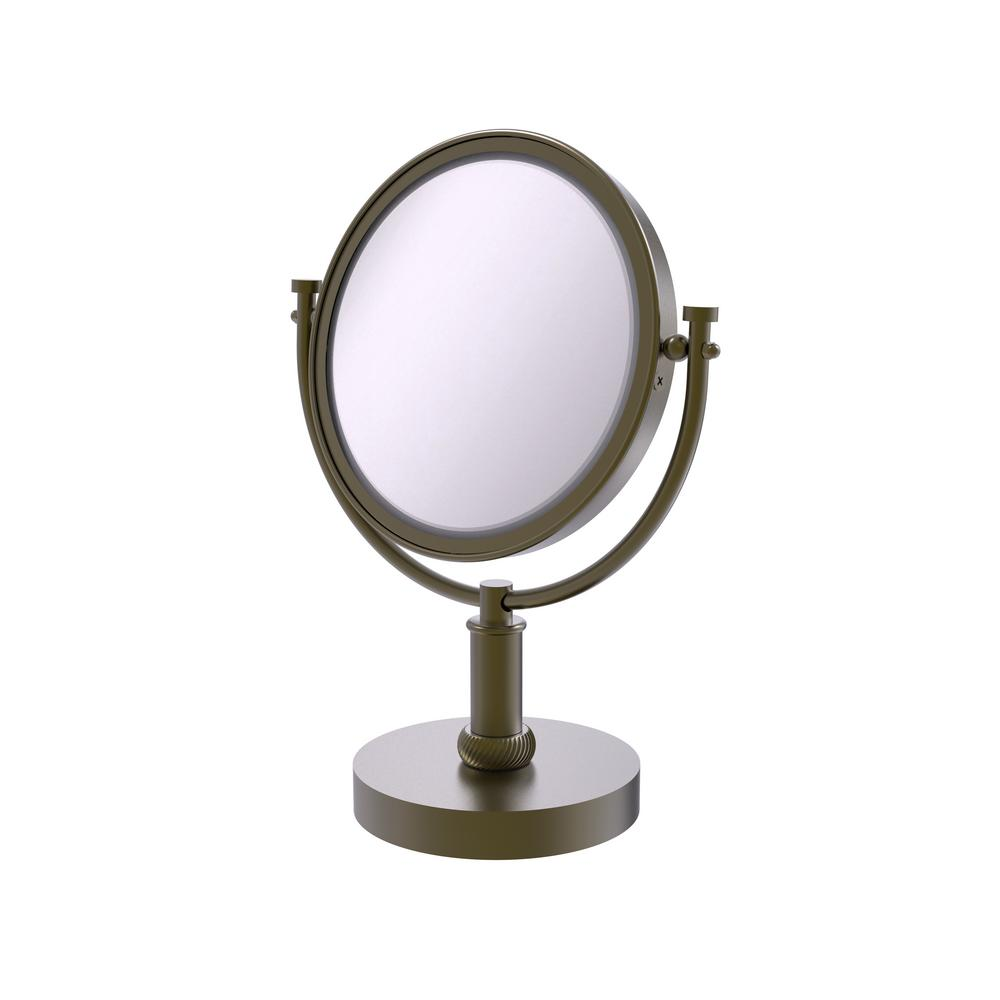 8 in. Vanity Top Make-Up Mirror 2x Magnification in Antique Brass
