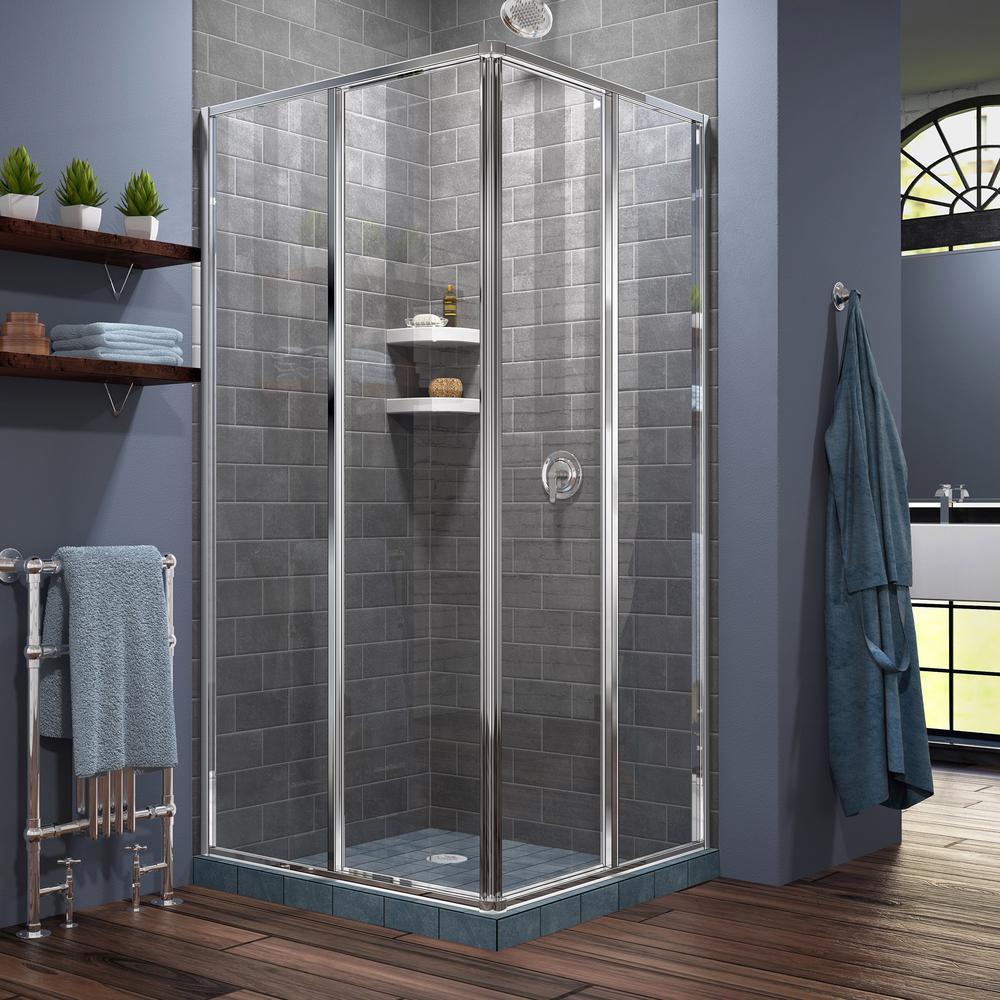 Cornerview 34-1/2 in. x 72 in. Framed Corner Sliding Shower Door Enclosure in Chrome without Handle