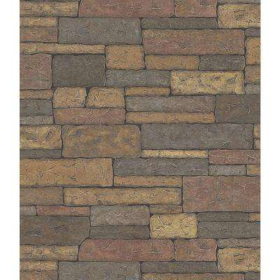 Northwoods Lodge Adobe Brown Stone Wall Wallpaper Sample