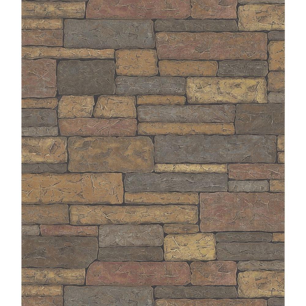 Northwoods Lodge Adobe Brown Stone Wall Wallpaper Sample