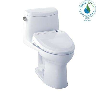 UltraMax II Connect 1-Piece 1.28 GPF Elongated Toilet with Washlet S300e Bidet and CeFiOntect in Cotton White