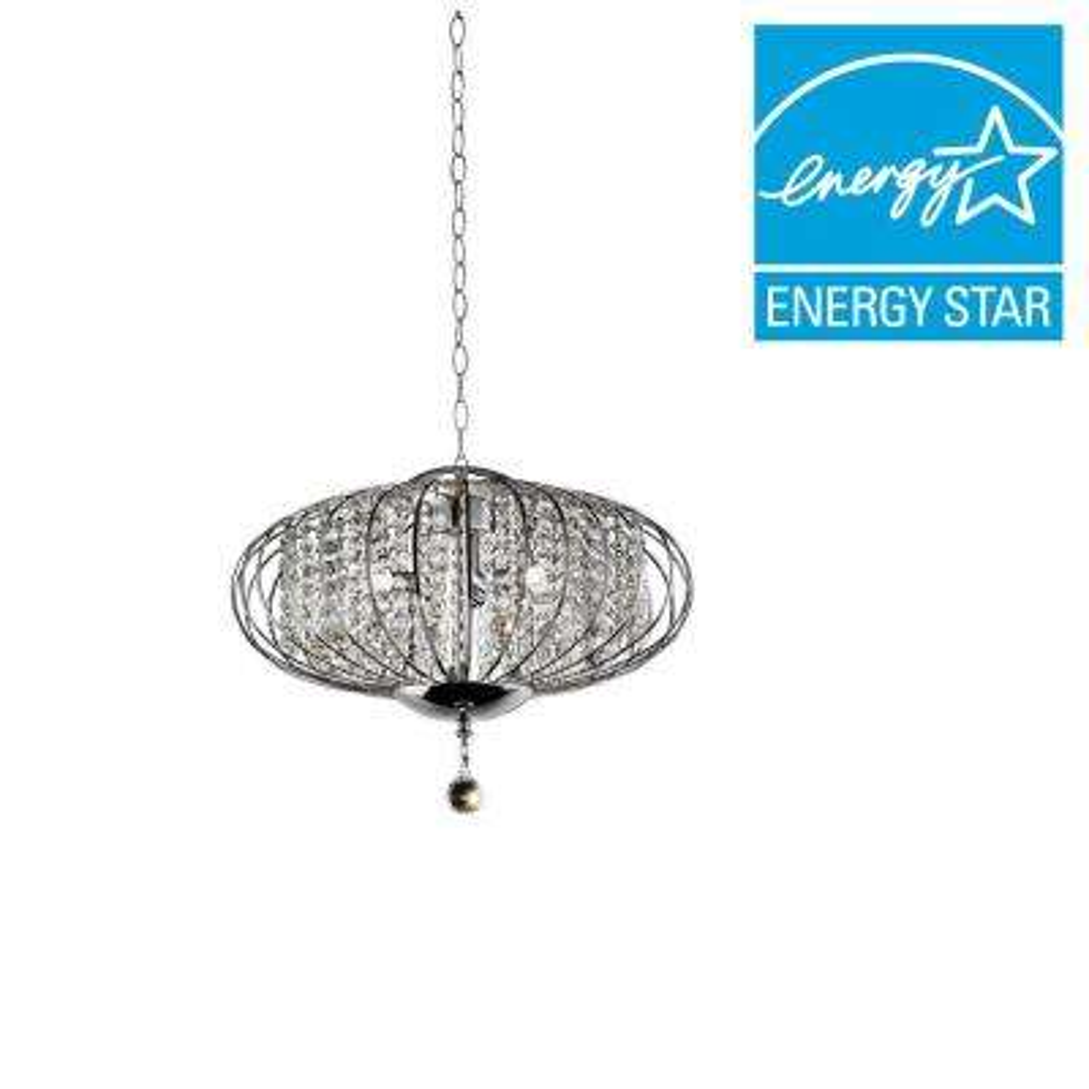 Royal Krystale 3-Light Silver Chrome Polished Crystal Ceiling Lamp