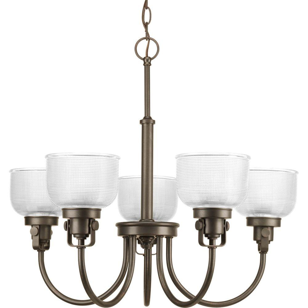 Progress lighting archie collection 5 light venetian bronze progress lighting archie collection 5 light venetian bronze chandelier with clear prismatic glass shade aloadofball