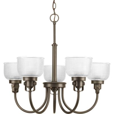 Archie Collection 5-Light Venetian Bronze Chandelier with Clear Prismatic Glass Shade