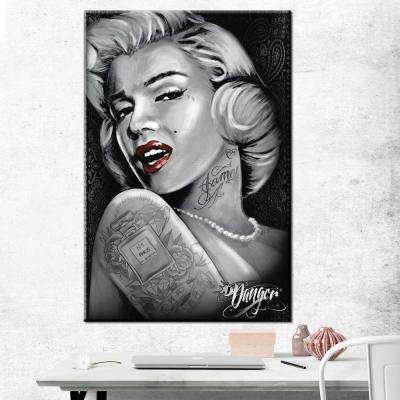 "24 in. x 36 in.""James Danger - Marilyn Red Lips"" Printed Canvas Wall Art"