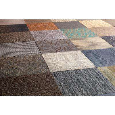 Assorted Pattern Commercial Peel and Stick 24 in. x 24 in. Carpet Tile (