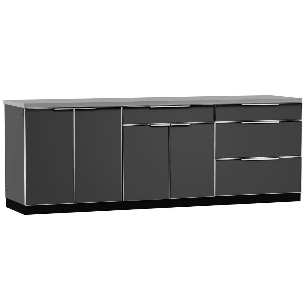 Aluminum Slate 4-Piece 97x36x24 in. Outdoor Kitchen Cabinet Set with Covers