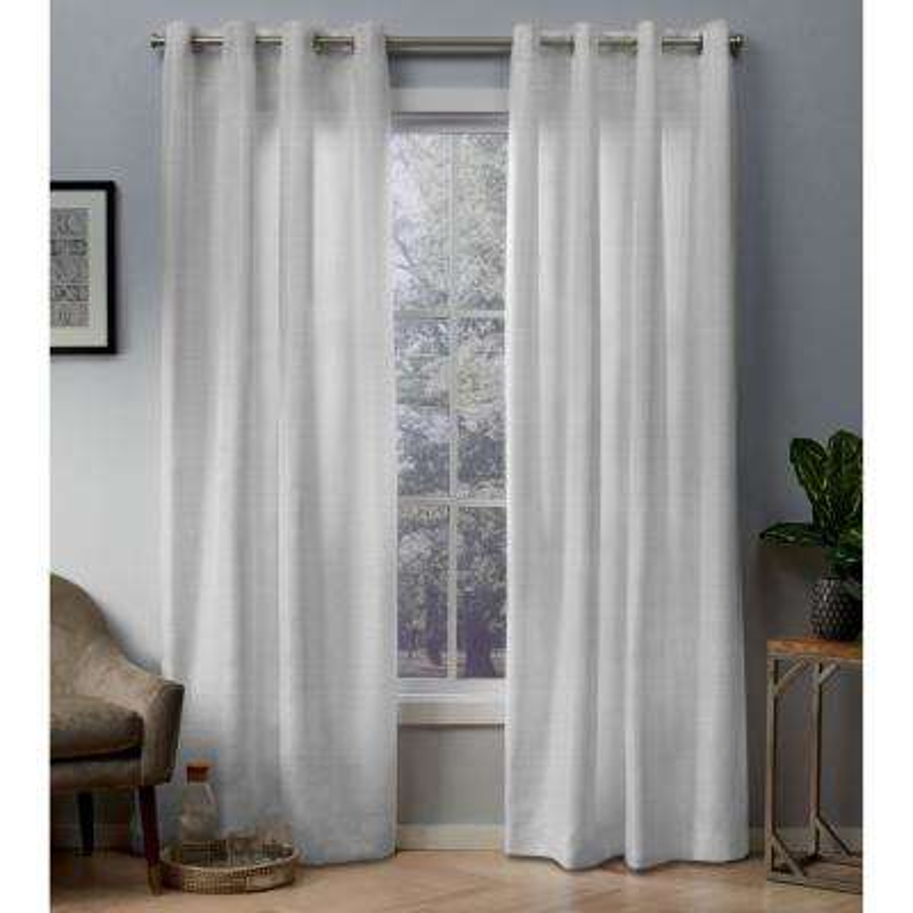 Whitby 54 in. W x 96 in. L Metallic Slub Grommet Top Curtain Panel in Winter White (2 Panels)