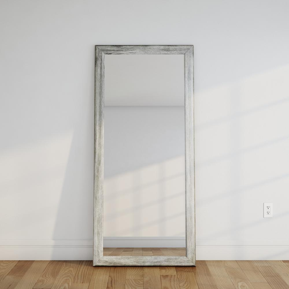 Weathered gray full length floor wall mirror bm035t the for Custom cut glass home depot