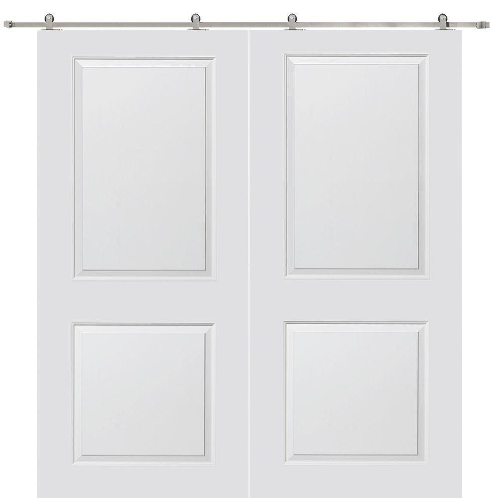 Milliken Millwork 60 in. x 80 in. Cambridge Smooth Composite Double Barn Door with Sliding Door Hardware Kit