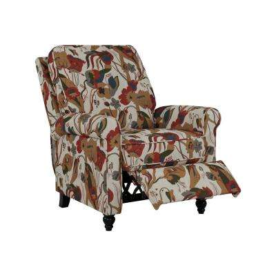 Warm Multi-Floral Fabric Push Back Recliner Chair