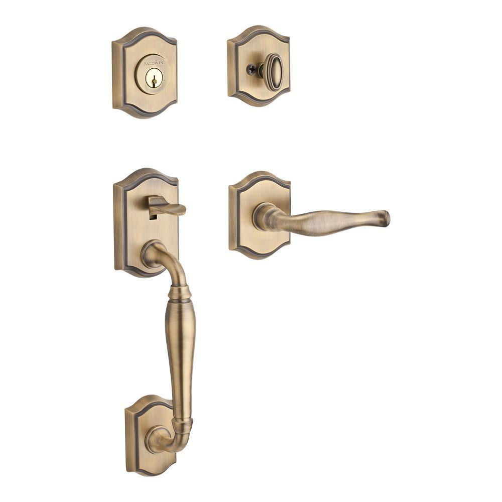 Westcliff Single Cylinder Matte Brass and Black Handleset with Right-Handed