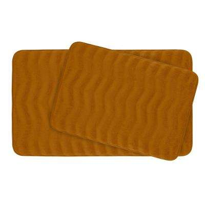 Waves Orange Memory Foam 2-Piece Bath Mat Set