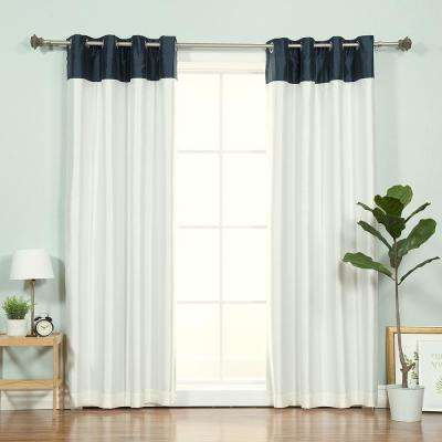 84 in. L Ivory Faux Silk Navy Top Border Blackout Curtain