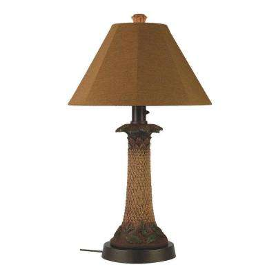 Outdoor lamps outdoor lighting the home depot palm bark outdoor table lamp with teak shade workwithnaturefo