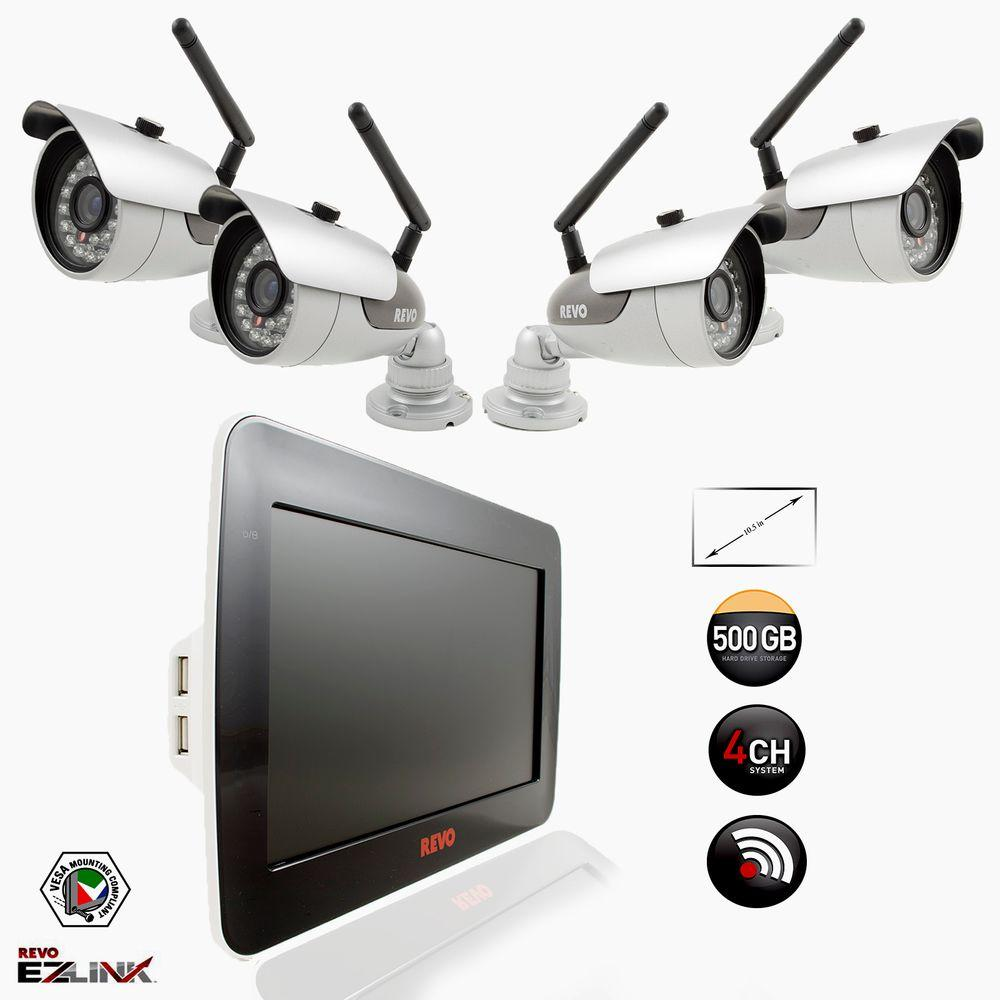 Revo 4-Channel 500GB DVR Surveillance System with 10.5 in. Built-In Monitor and (4) 600 TVL Wireless Bullet Cameras