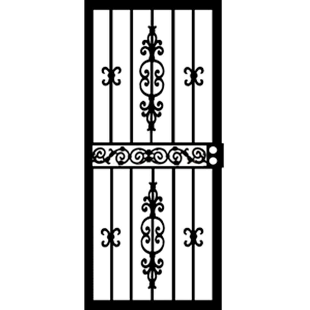 32 in. x 80 in. 406 Series Black Indiana Security Door