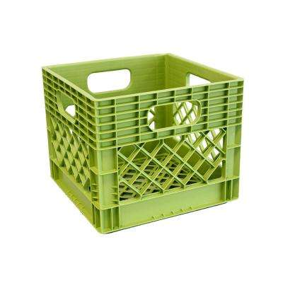 11 in. H x 13 in. W x 13 in. D Plastic Storage Milk Crate in Key Lime Green