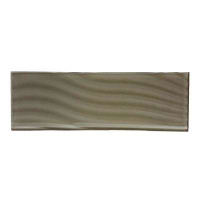 Pacific Tawny Pale Brown 4 in. x 11-3/4 in. Glass Wall Tile (3-Pack)