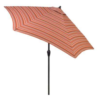 9 ft. Aluminum Patio Umbrella in Dragonfruit Stripe with Tilt