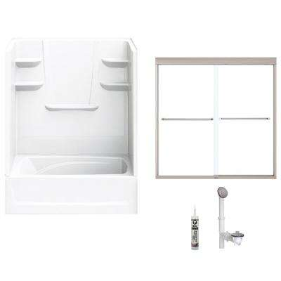 60 in. x 36 in. x 79 in. Bath and Shower Kit with Right-Hand Drain and Door in White and Brushed Nickel Hardware