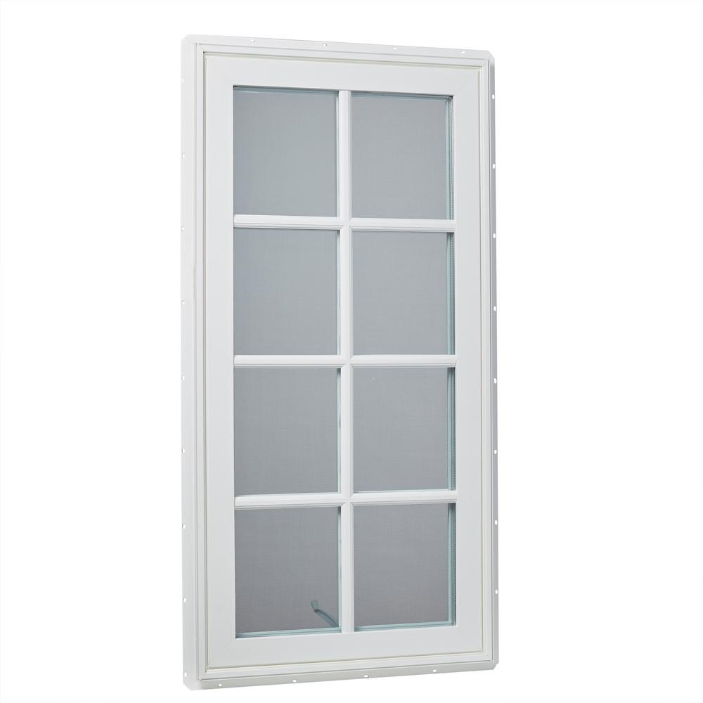 24 in. x 48 in. Left-Hand Vinyl Casement Window with Grids