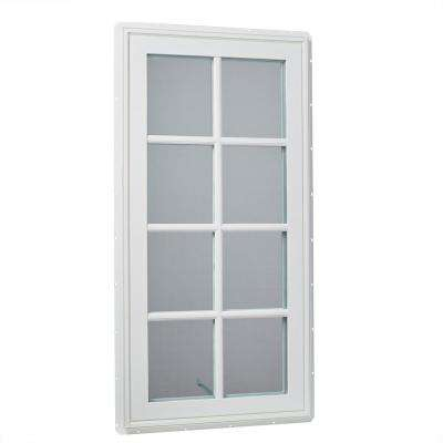 24 in. x 48 in. Left-Hand Vinyl Casement Window with Grids and Screen in White