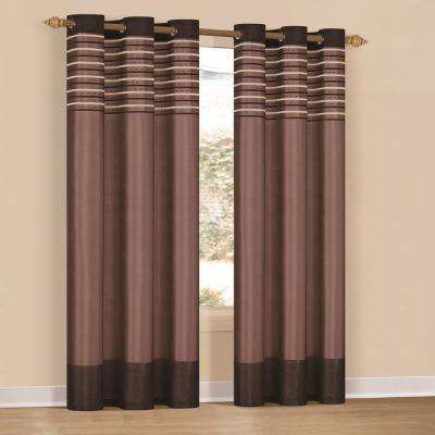 Cityscape 84 in. L Polyester  Curtain Panel in Celadon-Chocolate (2-Pack)