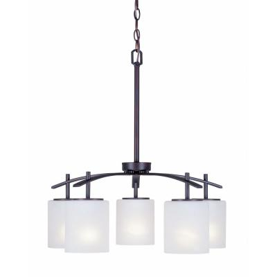 5-Light Antique Bronze Chandelier with Satin Opal Glass Shade