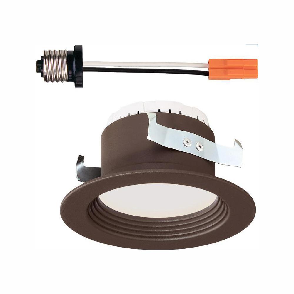 EnviroLite 4 in. Bronze Trim Integrated LED Recessed Ceiling Light, 3000K, 90 CRI, 570 Lumen