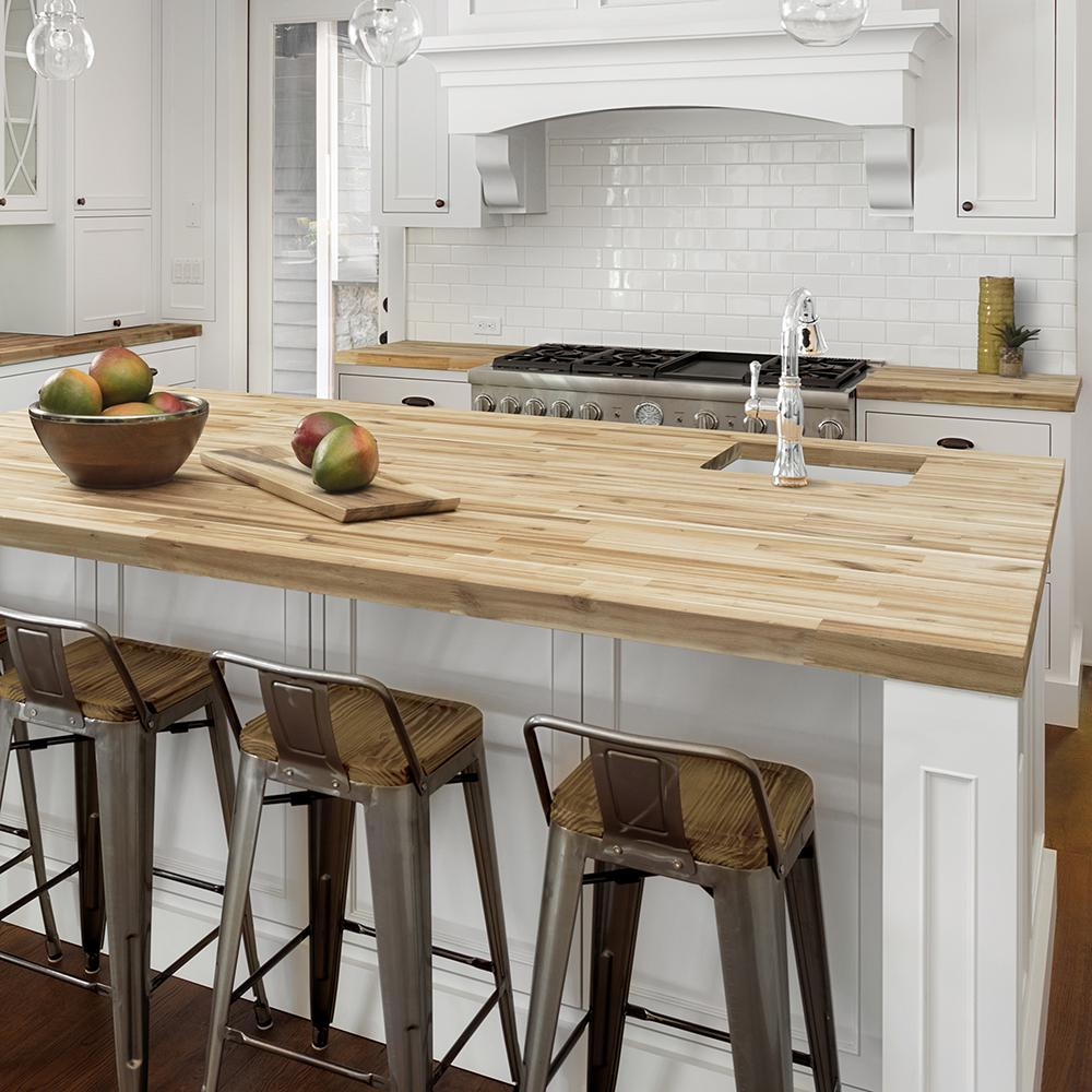 Hampton Bay 6 ft. 2 in. L x 3 ft. 3 in. D x 1.5 in. T Island Butcher Block  Countertop in Unfinished Acacia Wood