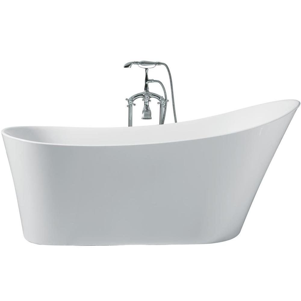 Acrylic Right Drain Oval Flat Bottom Freestanding Bathtub In White
