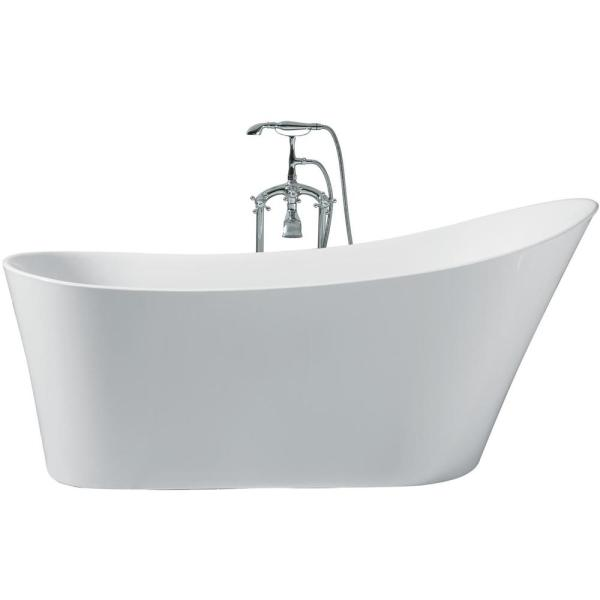 67 in. Acrylic Right Drain Oval Flat Bottom Freestanding Bathtub in White